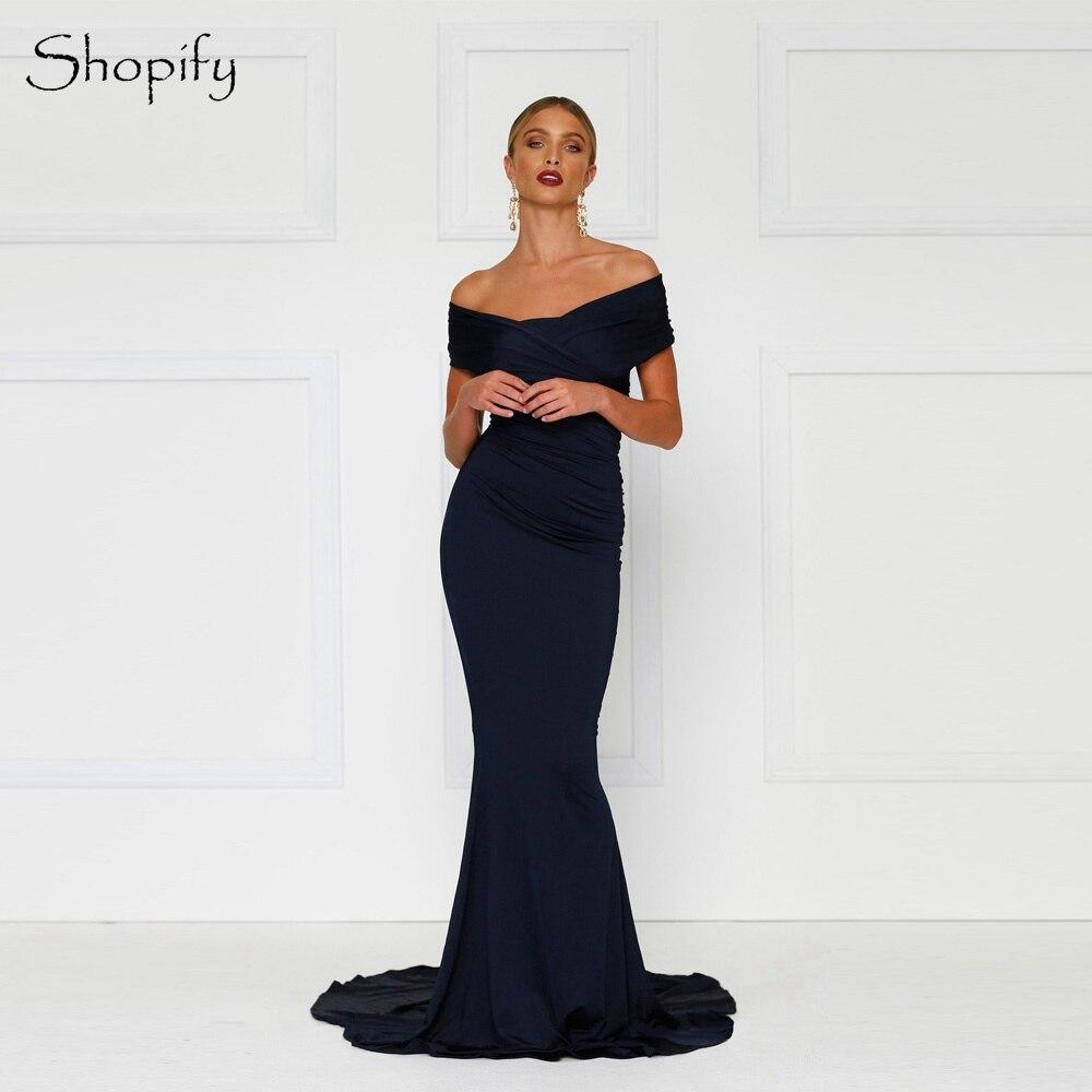Robe de soirée longue Simple 2019 Cap manches sirène col en v sans manches bleu marine longueur de plancher femmes robes de soirée
