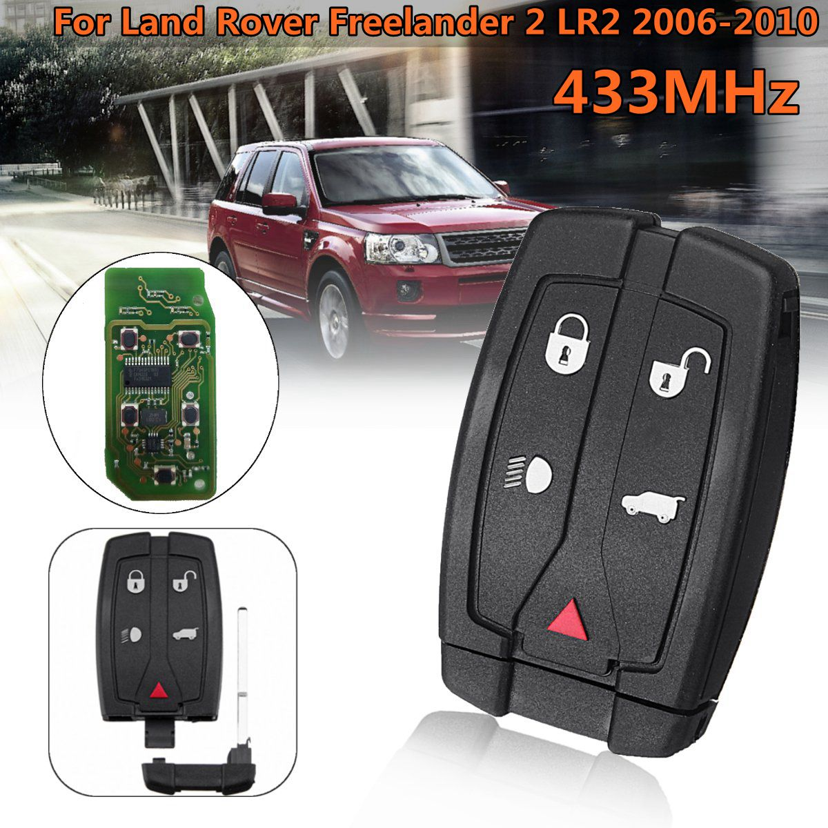 Car Key Fob Keyless Entry Smart Remote fits 2008-2012 Land Rover LR2 USARemote NT8-TX9, 3043A-TX9