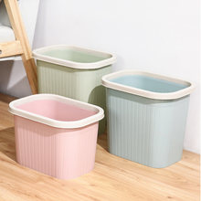 Rectangle Household Trash Can Plastic Garbage Basket Without Cover Home Desk Trash Can Bathroom Kitchen Basket Rubbish Bin(China)