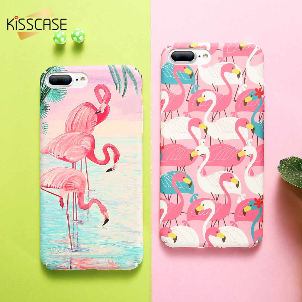 KISSCASE Flamant étui pour iPhone 5 SE 5 S Rose Noir Vintage Plaine Dur PC Couverture Animale Pour iPhone 6 6S 7 8 plus X Coque