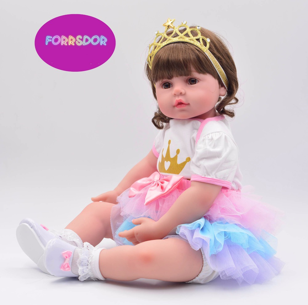 DOLLHOUSE Popular 60cm soft cloth body lifelike toddler girl with Golden crown best kids playmate silicone