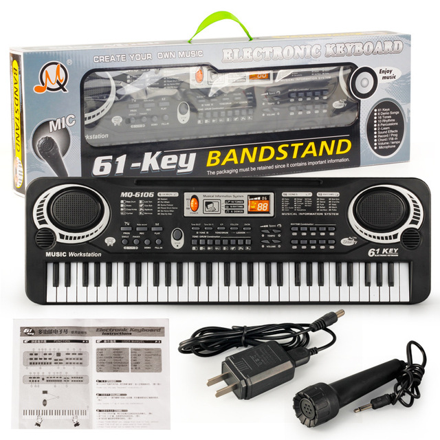 0809f8f83 Multifunctional Electronic Piano with Microphone Plastic Children 61 Keys  Digital Music Electronic Keyboard Gift Toy
