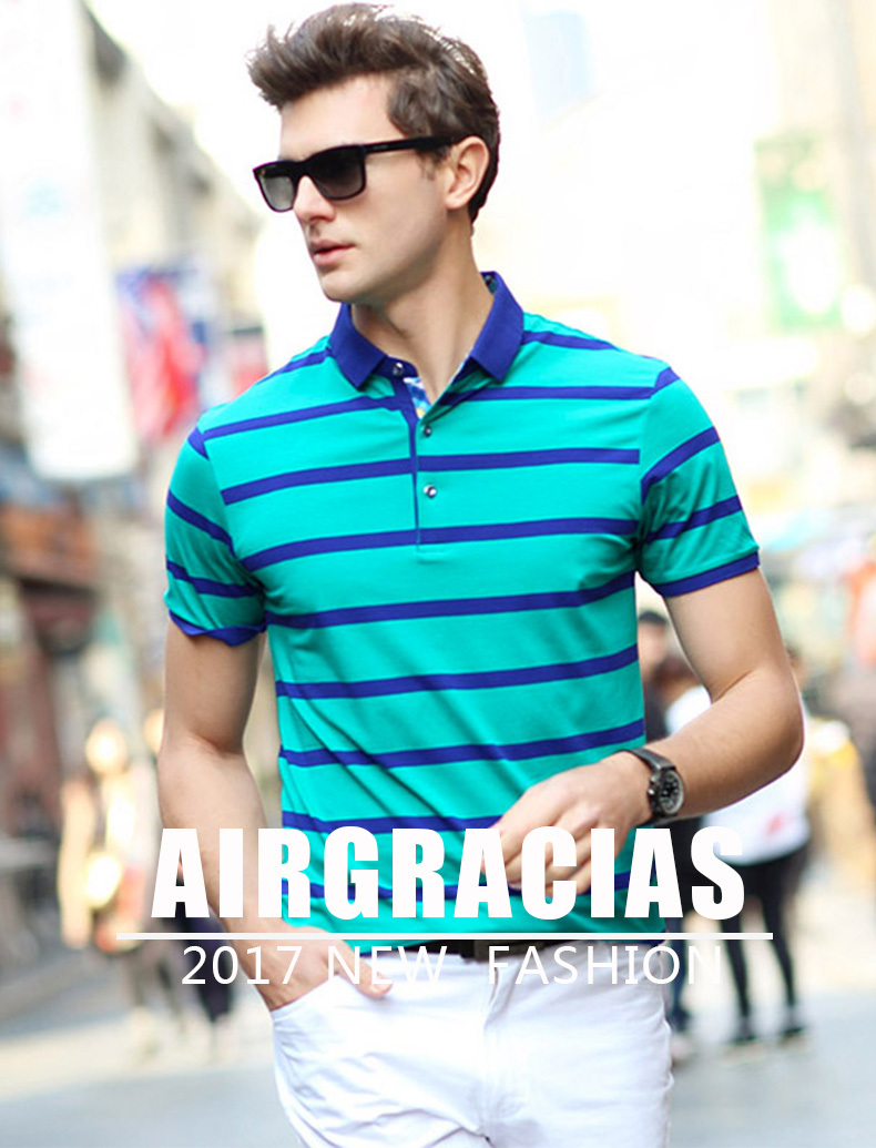 0d89cb8805b AIRGRACIAS 2017 Summer Mens Polo Shirts Cotton Striped Blue Greeb ...