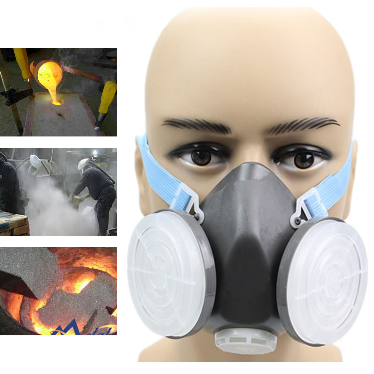 Black Gas Mask Emergency Survival Safety Respiratory Gas Mask Anti Dust Paint Respirator Mask With 2 Dual Protection Filter Refreshment Personal Health Care