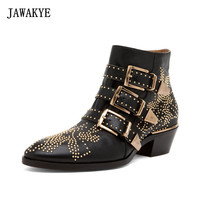 JAWAKYE Sexy Rivets Susanna Studded Leather Buckle Ankle Boots Women Kitten Heels Winter Shoes Studded Ankle Boots for Women