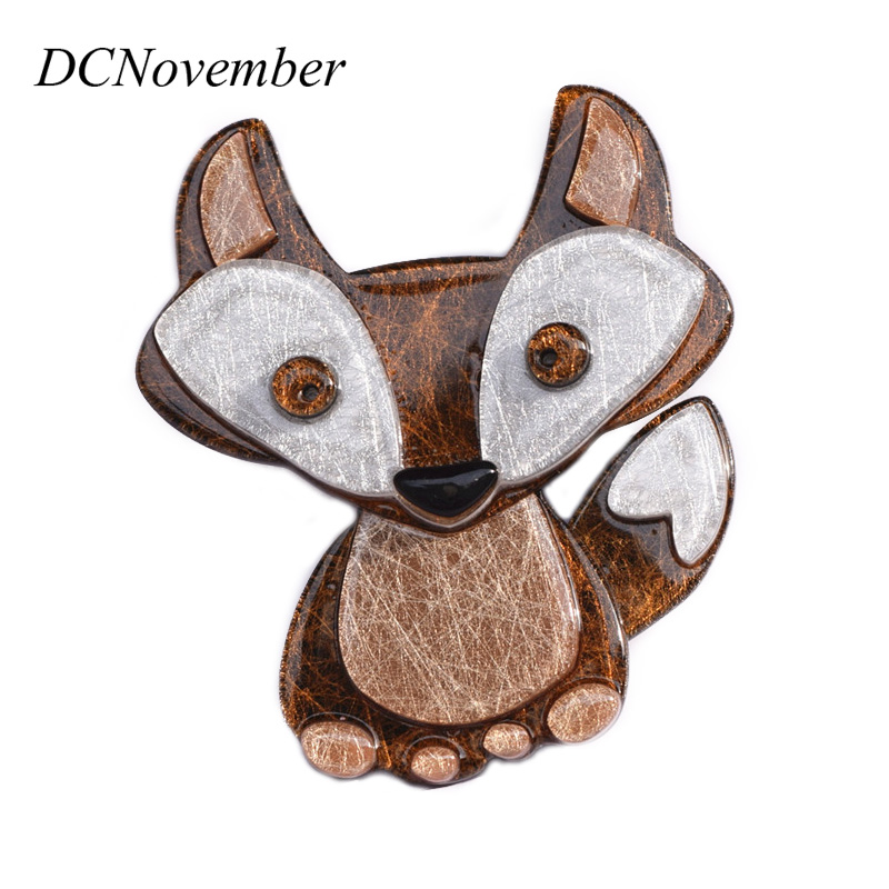 DCNovember Lovely Fox Brooches Baby Children Environmental Acetate Fiber Foxes Brooch Pins Accessory