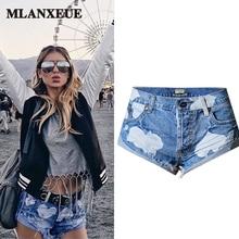 Fashion Printing Ripped Jeans Women Retro Pleated Denim Shorts Casual Tassel Female Shorts Boyfriend Style Skinny Pants Woman