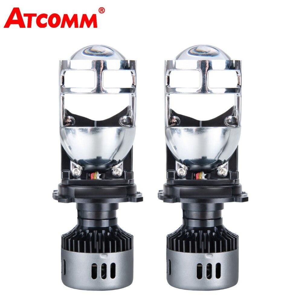 H4 LED phare de voiture avec Mini lentille de projecteur 9600LM H4 LED Kit de Conversion Automobiles salut/Lo faisceau ampoule LED 12 V 24 V 6500 K blanc