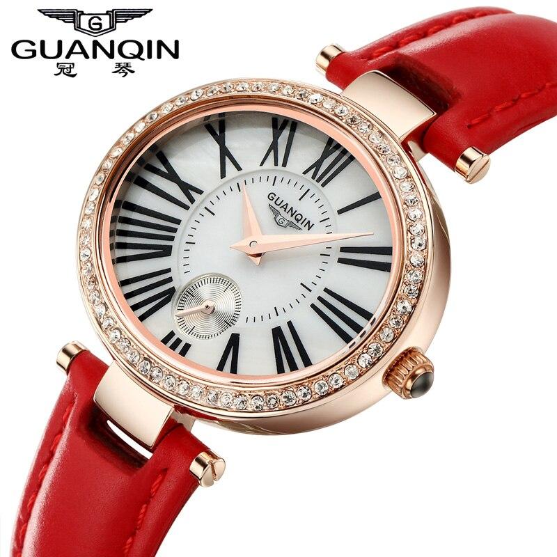 ФОТО Famous Brand Diamond GUANQIN Watch Women Ladies Quartz Watches Waterproof  Dress Fashion Luxury Girls Watch Women Wristwatches