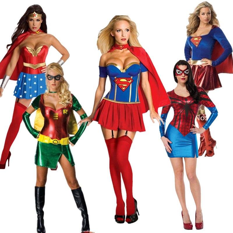 Halloween Costumes For Women Superman Spider-Man Costume Dress Batman Captain America Night Dress Halloween Clothes 5 Models