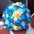 2017 Люкс Для Невесты Свадебный Букет Дешевые Новый Роскошный Кристалл Синий Ручной Искусственный Цветок Розы Свадебные Букеты