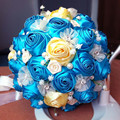 2017 dama de Honor Nupcial de La Boda Bouquet Barato Nuevo Lujo Cristal Azul Hecho A Mano Artificial Rose Flores Ramos de Novia