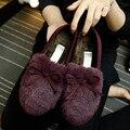 Новые Зимние Женщины Квартиры Обувь Настоящее Мех Кролика Обувь Женщина Мода Утолщение Теплые Тапочки для женщин Обувь Повседневная Мокасины