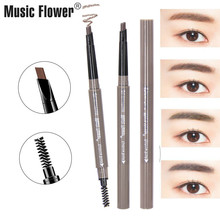 Brand Music Flower 3D Eyes Makeup Set Brown Matte Eyebrow Pencil Womens Eye Brow Enhancer Pen Lasting Make Up Brush 4 Colors цена