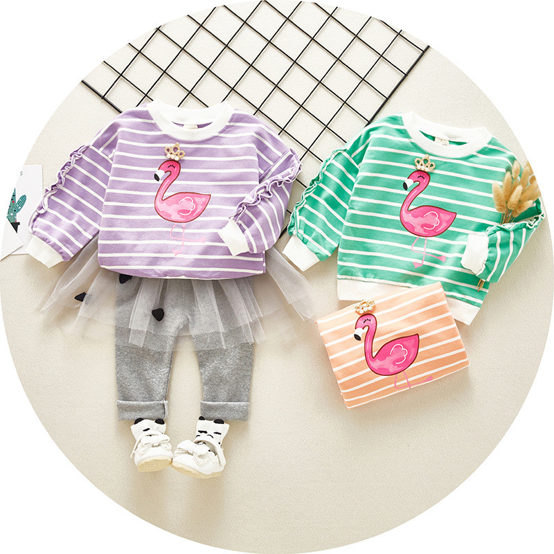 79ac3b92877727 Beste Kopen Hot koop Katoen herfst casual gestreepte kid pak kinderen set  baby meisje kleding meisje kleding baby meisje kleding kleding set Goedkoop