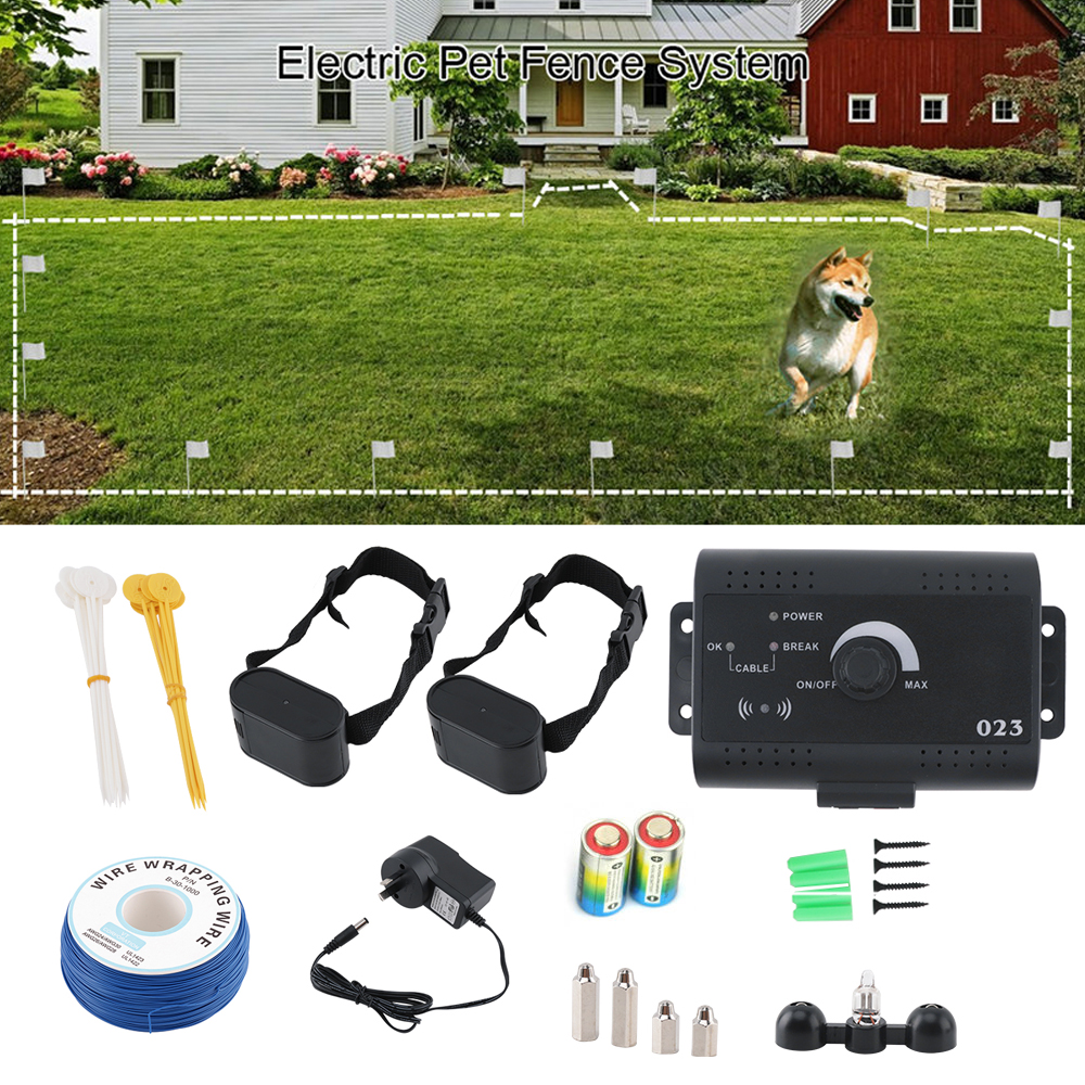 Electric Dog Fence Kit Waterproof Training Dog Collar Electronic Remote Shock Dog Collar Pet Fence Containment System for 2 Dogs    1