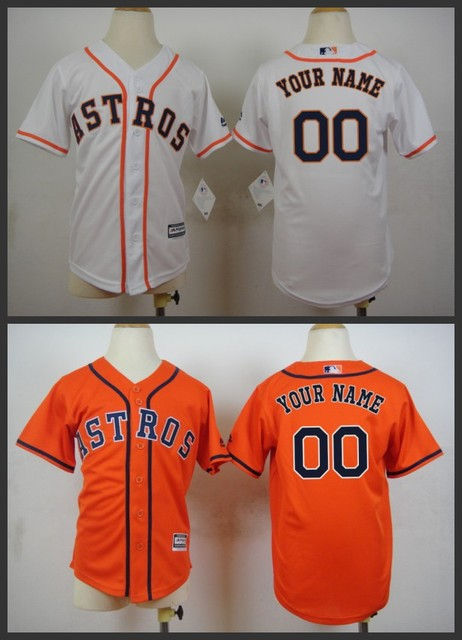 4b6390583 2015 Kids Authentic Houston Astros custom baseball jerseys YOUTH Personalized  custom astros Jersey shirt stittched orange white