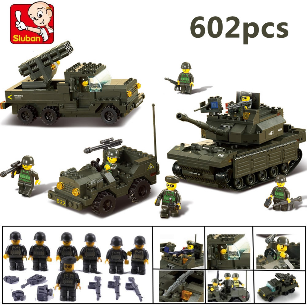 Sluban DIY Block eductional Building Blocks Sets Military Army Tank children DIY Education Best Kids Toys Christmas Gifts