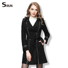 black double breasted turn down collar suede jacket 2016 high quality women's fashion brand jacket winter autumn 802