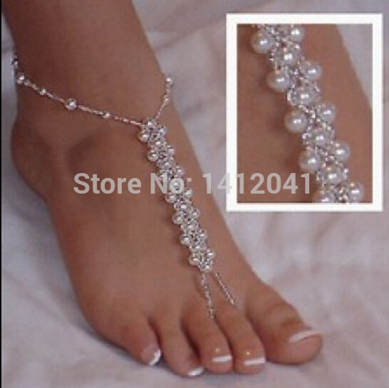 FD768 Sexy Beautiful Bridal font b Jewelry b font Pearl Foot Ankle Chain Toe Ring Beach