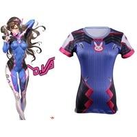 Cos D Va Hot Game OW T Shirts Cosplay Dva Tee Short Sleeve Woman Adult 3D