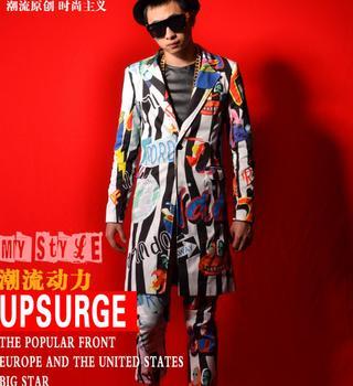 New Fit Slim Suit Men Striped Graffiti Blazer Nightclub Bar Men Singers Stage Show Fashion Suits Hairstylist Coat Costumes M-5XL