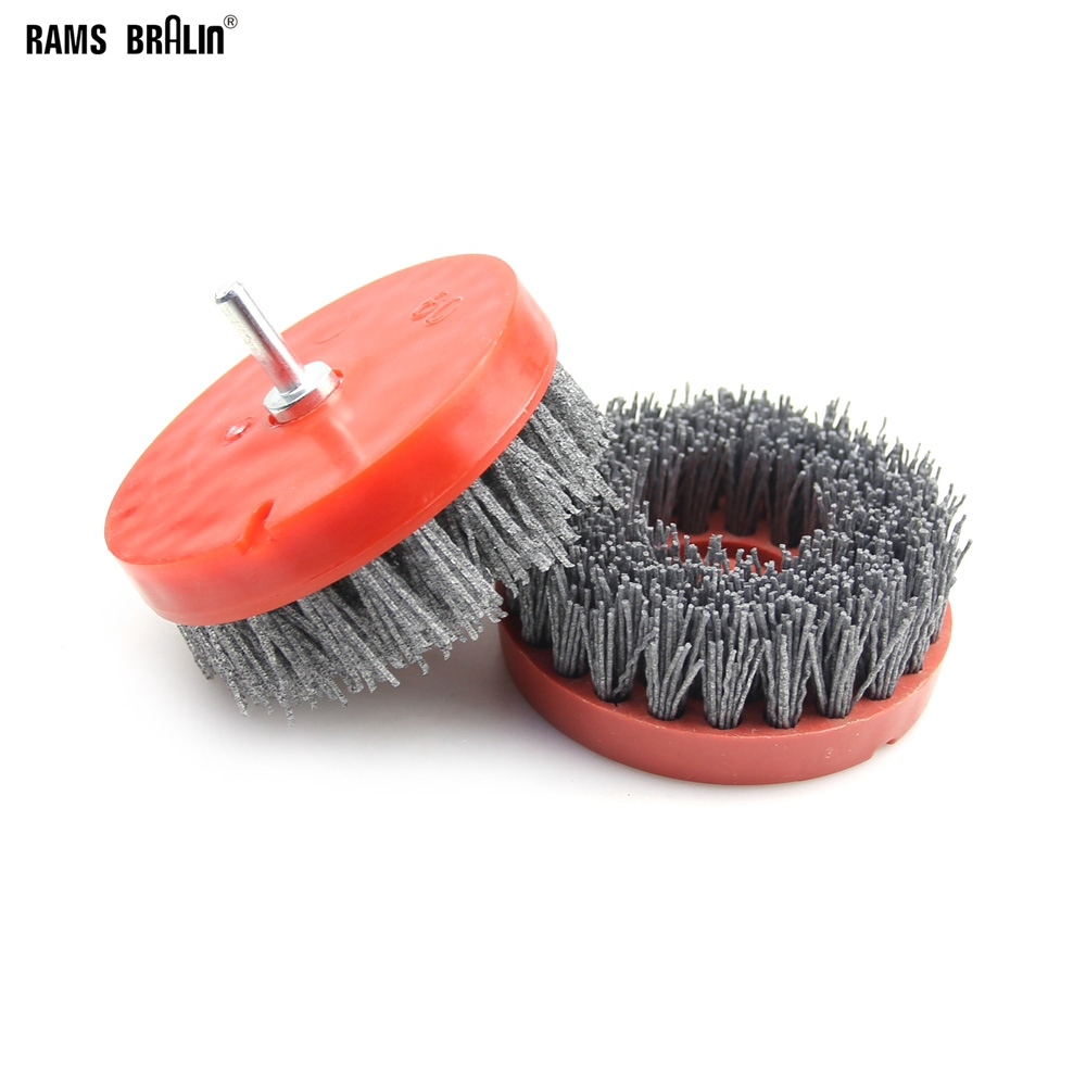 2 Pieces 110mm *M14 Nylon Abrasive Wire Brush For Wood Stone Antiquing Grinding+ Rod For Electric Drill Polisher