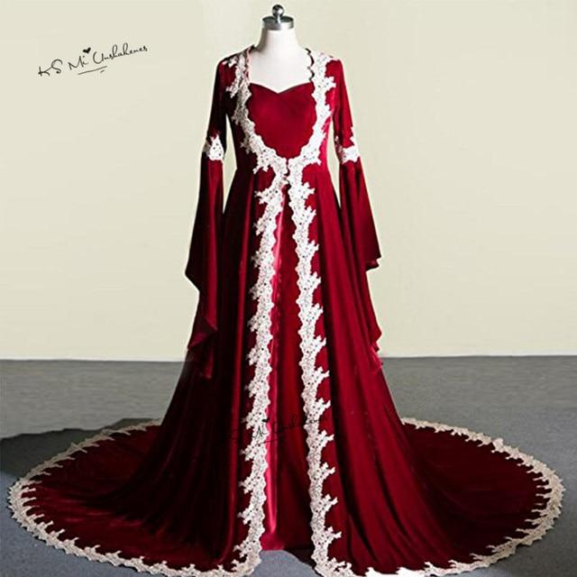 Kaftan Abaya Burgundy Muslim Evening Dresses Velvet Arabic Turkey Prom  Dresses Long Sleeve Vestidos de Festa Lace Wraps Baile eb00bba1e1d0