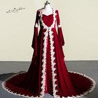 Kaftan Abaya Burgundy Muslim Evening Dresses Velvet Arabic Turkey Prom Dresses Long Sleeve Vestidos de Festa Lace Wraps Baile