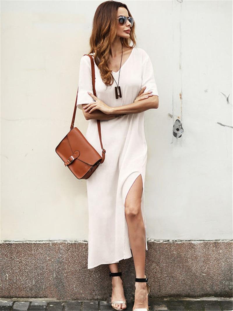Новое модное женское Повседневное платье с коротким рукавом с v-образным вырезом летнее богемное вечернее платье пляжное миди платье-сараф...