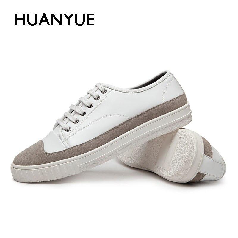 Casual Cuir Respirant Nouveau Blanc Hommes Plat Mode Chaussures Up Zapatillas Hombre été black En Lace Homme Bas White Printemps Noir qRxgpw1nC
