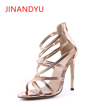 Sexy T Strap Sandals Womens Strappy Heels Shoes European and American Cut-Outs Peep Toe Thin High Big Size 35-43