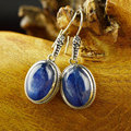 Natural Glaucophane Earring 925 Silver Women Vintage Blue Stone 925 Thai Sterling Silver boucle d'oreille Drop Earrings