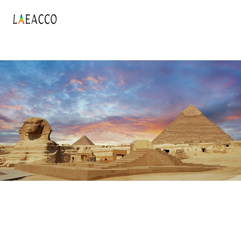 Laeacco Egypt Pyramid Sphinx Sunset Famous Portrait Photography Background Customized Photographic Backdrops For Photo Studio in Background from Consumer Electronics