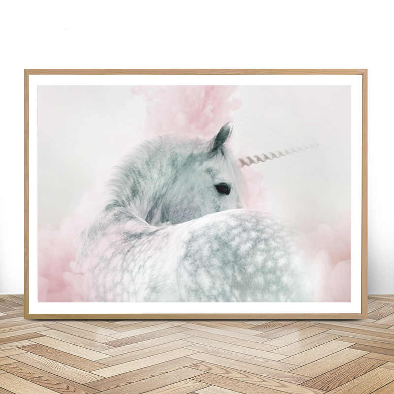 Girls Bedroom Decor Unicorn Nursery Wall Art Print Whimsical Pink and Grey Posters Canvas Painting Wall Pictures for Girls Room