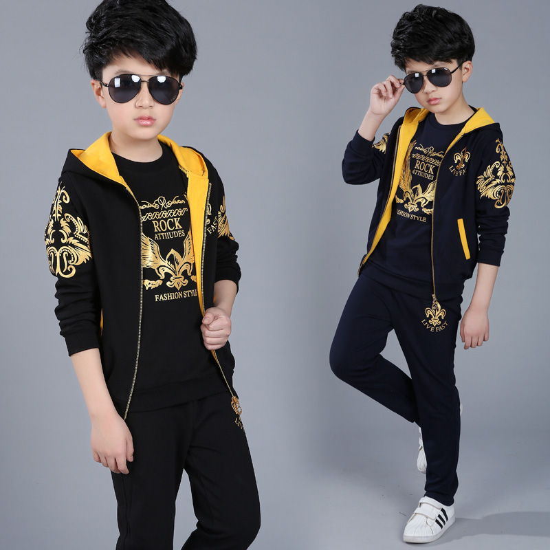 Retail childrens sports suit boys 4-13 years old children big boys three suit uniforms Spring clothes Jacket + Trousers+T-shirtRetail childrens sports suit boys 4-13 years old children big boys three suit uniforms Spring clothes Jacket + Trousers+T-shirt