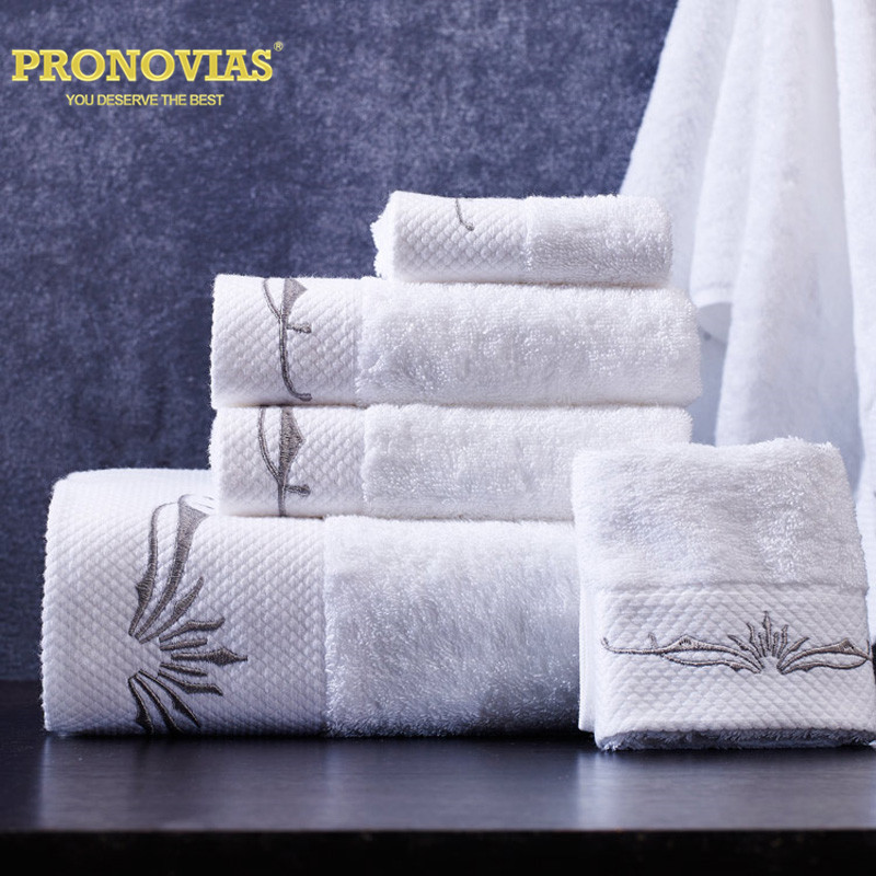 Night Tender Star hotel Egyptian cotton leaves embroidered 3pcs towel set hand/face/bath use