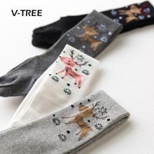 V-TREE Cerf Bébé Collants Pour Filles Coton Élastique Filles Collants De Noël  Filles Bas Collants Des Enfants 2-9 Année dde81c89290