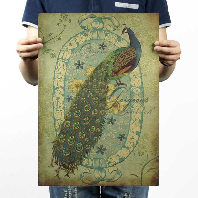 Hand drawing/the Peacock B style/kraft paper/bar poster/Retro Poster/decorative painting 51x35.5cm Free shipping