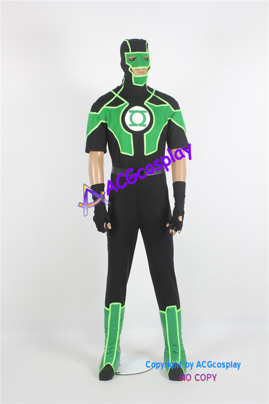 Green Lantern Simon Baz Cosplay Costume from DC comic include boots covers ACGcosplay