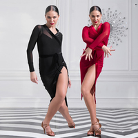 Comfort Latin Dancing Dresses For Ladies Black Red Lace Velvet Skirts Traditional Female Women Square India