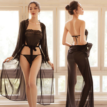 цена 3 pcs/set Transparent Lingerie Lace Apron G-String Dress Gown Intimate Sleepwear Robe Sexy Women Lingerie Sexy Hot Erotic Dress в интернет-магазинах