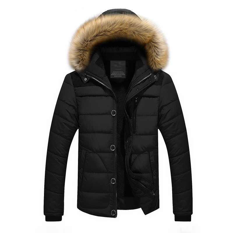 Высококачественный мужской пуховик, брендовая одежда, повседневные теплые пальто с капюшоном и меховым воротником, зимние куртки, мужские ветровки