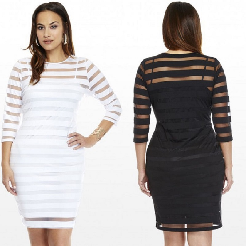 Elegant Bodycon Pencil <font><b>Dress</b></font> <font><b>4XL</b></font> Summer Autumn Women <font><b>Dress</b></font> See-through Plus Size Women Clothing <font><b>Sexy</b></font> <font><b>Club</b></font> <font><b>Dress</b></font> image