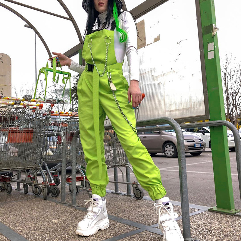 2019 Fashion Neon Women Overalls Safari Style Women Pants Personality Chain Women Long Pants Moto Street Wear Femme Pantalon