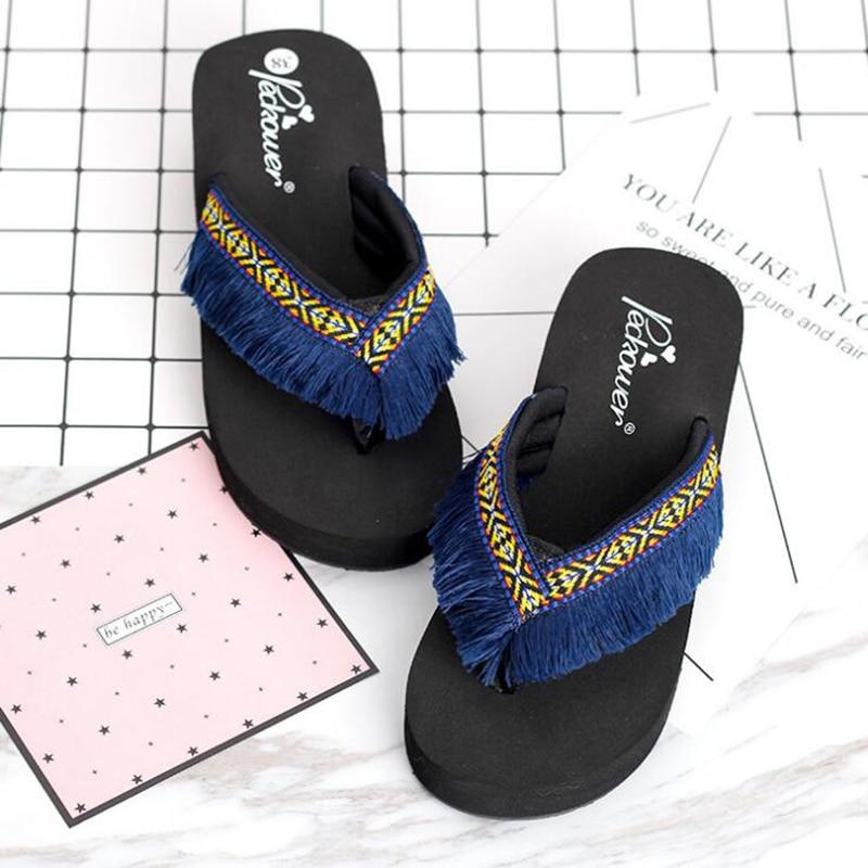 bc345faac638 AShwin lady sandals summer women flip flops tassel slippers bohemia wedge platform  sandal slides vintage ethnic fringe mules-in Middle Heels from Shoes on ...