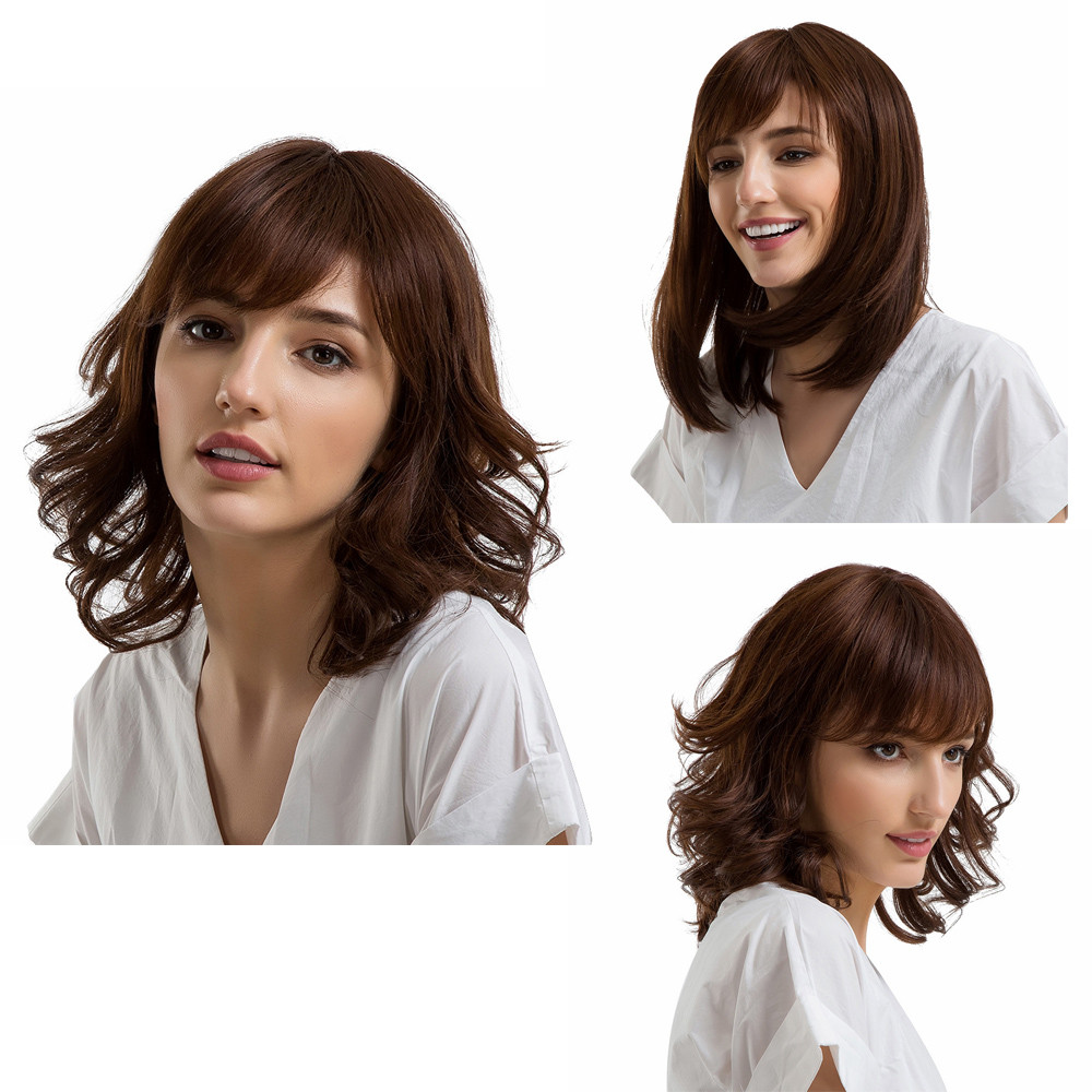 2018 Ladies Human Hair Brown Wigs With Bangs Straight/Curly Middle Length Wave Wigs classic femal long black wigs with neat bangs synthetic hair wigs for black women african american straight full wigs false hair
