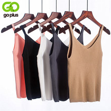GOPLUS 2019 Spring Sexy Crop Top Knitted Tank top Women Blouse Soft V Neck Tops Female Sleeveless Vest Casual streetwear Camis(China)
