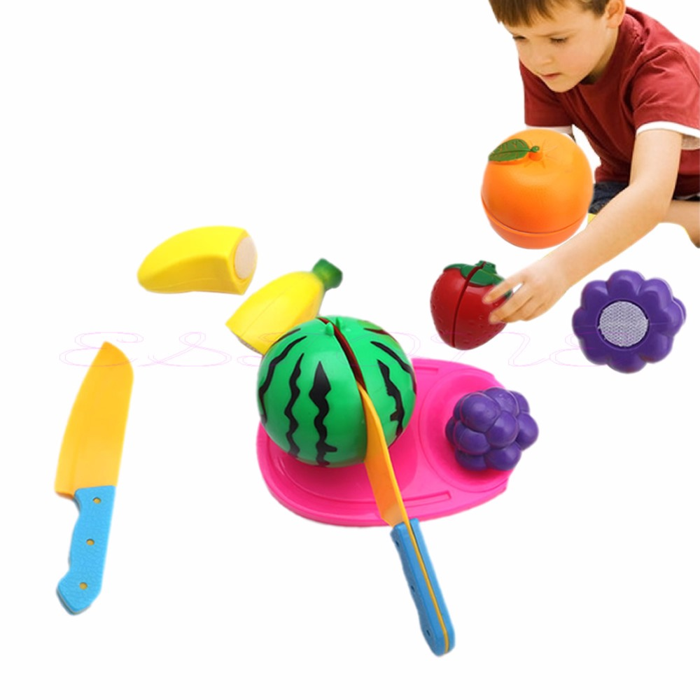 Role Play Kids Pretend Kitchen Fruit Food Plastic Cutting Set Toy ...