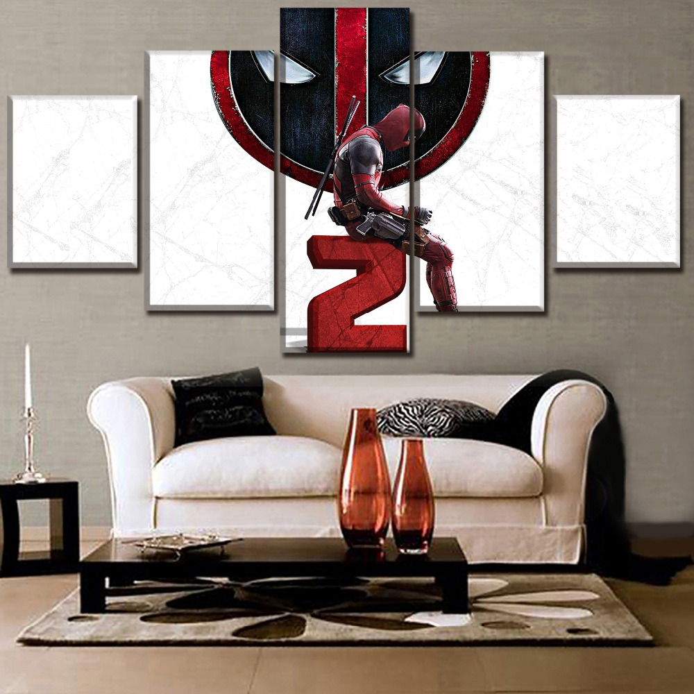 Home Decorative Top Rated Canvas Printed 5 Pieces Movie Deadpool 2 Painting Wall Art Modular Picture Framework For Living Room in Painting Calligraphy from Home Garden